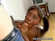 Young Afro Babe Sucking MonsterCock And Anal