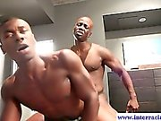 Horny muscled ebony dude riding BBC