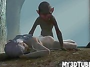 White haired 3D babe gets fucked hard by an alien