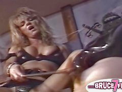 Nipple clamped 90s lesbo fuck