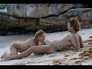 hungry art sex of horny couple on beach