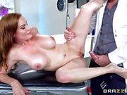 Hot doctor footjob with sexy MILF Diamond Foxxx