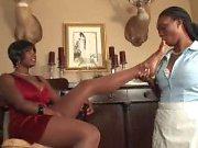 Lesbian femdom and dildo sharing