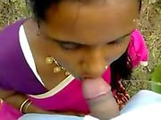 Indian amateur teen sucking a hard dick outside