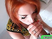 Redhead teen Rania Belle mouthful of cum