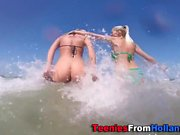 Beach teens box fingered
