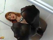 Irina Vega takes a shower in black pantyhose