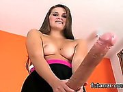 Horny chicks drill the biggest strapon dildos and spray juic