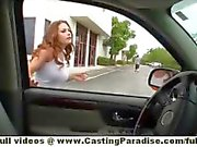 Allison Moore busty redhead chick double toying pussy in public settings