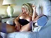 Hot Blonde Cougar Smoking and Diddling