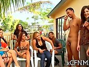 Cfnm femdoms sucks cocks during a porch party