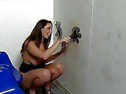 Paige Turnah sucking black cock at a glory hole