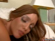 Sexy brunette Melanie Jane gets nicely stabbed on her sweet twat from behind