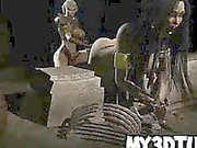 Busty 3D cartoon babe gets fucked with a strap on