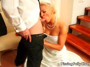 Horny blonde bride squeezes her big boobs while sucking hard cock