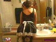 Sexy French Maid Amateur Bathroom Video