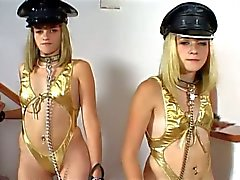 Blonde twins share one cock