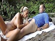 Massive tittied MILF sizzling sex in the seaside