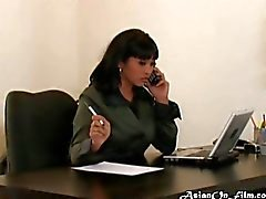 Office assistant gives a blowjob to her boss