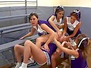 Cheerleaders gangbang a pretty girl hard