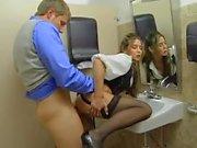 He bangs big tits chick in office bathroom