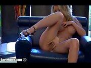 Kayden Kross Dildoing Herself On Leather Sofa