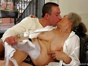 Old lady fucked in her hairy pussy