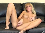 Jana Jordan plays with her perky boobs and gently fingers her snatch