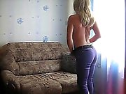 Russian girlfriend masturbates on her sofa