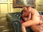 Randy chick takes dick in her mouth and cunt on leather sofa then get jizzed