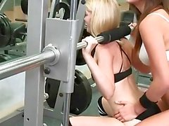 Gym trainer and her student pleasuring