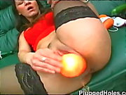 Women with huge pussy enjoys lots of toys