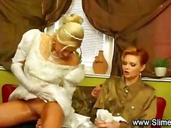 Bride bukkaked by her lesbian friends with toy