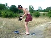Russian girl Veronica peeing on the road