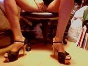 Spicy 6 inch Black&Tan Two-tone Opentoe Stilettos & upskirt
