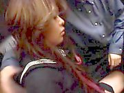 Delightful schoolgirl touches herself and takes a shaft in