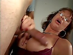Sexy ass milf in glasses smokes a cigarette and sucks dick
