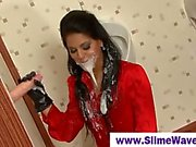 Euro babe takes massive cumshot at gloryhole