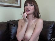 Big tit hottie Shay Laren watches her live cam while she masturbates
