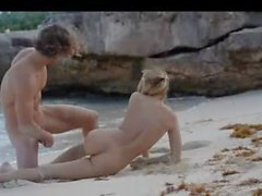 fluent art sex of horny couple on beach
