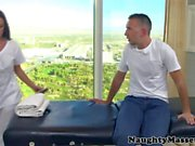 Busty masseuse facialized by her new boss