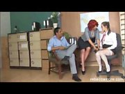 Horny slut fucks office hunk on desk with her sexy young PA babe watching