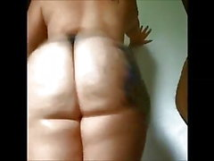 Big fat white booty clapping in thong!
