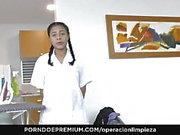 OPERACION LIMPIEZA Latina maid pussy licking in lesbian fuck
