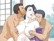 Big nipples Japanese hentai gangbanged by ghetto anime guys