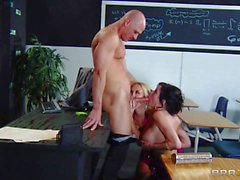 Big tit milfs Alana Evans and Veronica Avluv get banged in the clasroom