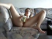 Busty big tit college babe fucks bottle and drinks from it