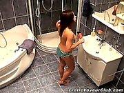 Superb brunette amateur voyeur girl Lilia gets naughty in