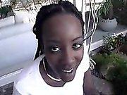 Blowjob By A Black Chick Outside POV