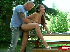 Redhead teen outdoor with cum in mouth